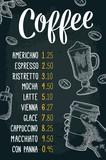 Restaurant or cafe menu coffee drinck with price.
