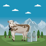 mountain landscape valley poster of switzerland with cow animal and metal jars of milk vector illustration