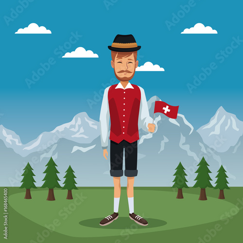 Foto op Plexiglas Blauwe jeans mountain landscape valley poster of switzerland with man in traditional costume with small flag vector illustration