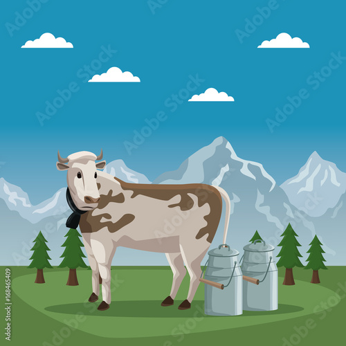Poster mountain landscape valley poster of switzerland with cow animal and metal jars of milk vector illustration