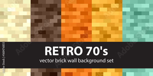 Rectangle pattern set Retro 70s. Vector seamless brick wall backgrounds