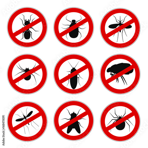 Set sign ban anti mosquito - vector for stock - 168478091