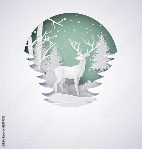 Deer in forest with snow in the winter season and christmas.vector paper art style.
