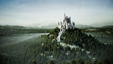 Old fairytale castle on the hill. aerial view. 3d rendering. - 168485464