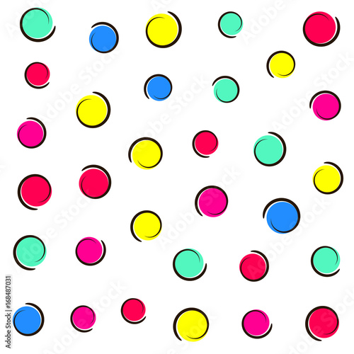 Staande foto Pop Art Pop art colorful confetti background. Colored spots and circles on white background with ink curves. Vector illustration.