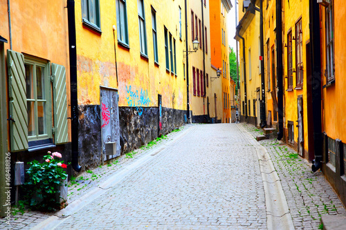 Old street in Stockholm Poster