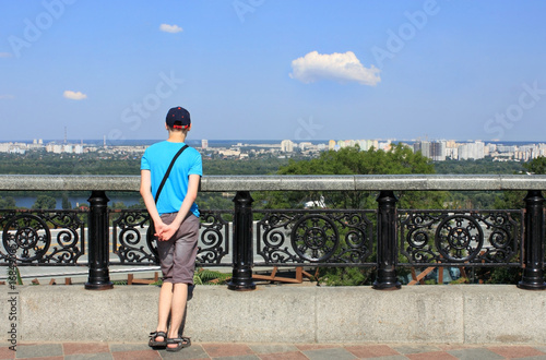 Fotobehang Kiev View of the left bank of the Dnieper in Kiev