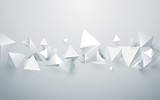 Abstract white 3d pyramids background. Vector illustration