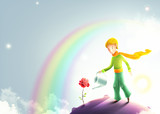 Fototapety Little prince watering a rose. Le petit prince illustration. Cute little prince with orange scarf on a small asteroid planet. Beautiful universe and stars behind the little boy.