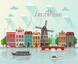 Vector illustration of Amsterdam. Old european city. - 168507066