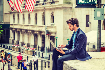 Young Businessman working on Wall Street in New York.