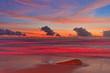 Tropical beach after sunset in beach lights.