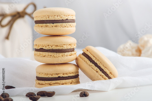 Sticker Coffee macarons with chocolate. French delicate dessert for Breakfast