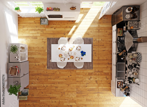 Top view of the modern kitchen room - 168519276