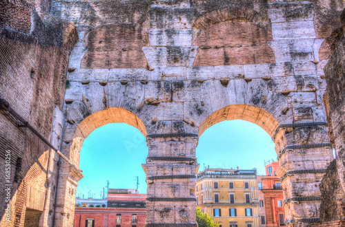 Foto op Plexiglas Rome The circular arcs of Colosseum, Flavian Amphitheatre, in Rome, Italy