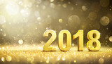 2018 -  New Year - Golden Greeting Card - 168530402