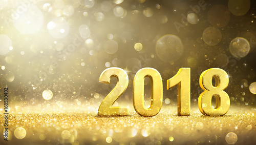 2018 -  New Year - Golden Greeting Card