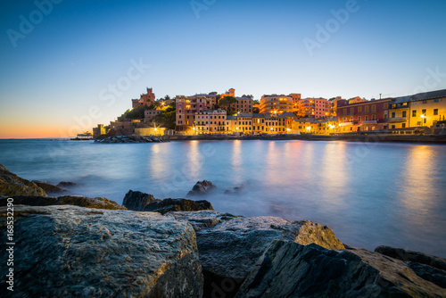 Aluminium Liguria Romantic scenery of Genova at sunset, Italy august 2017