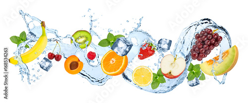 water splash panorama with various fruits ice cubes and fresh peppermint leafs isolated on white background - 168534263