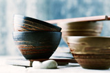Wooden Chopsticks and ceramic Bowls - 168535473