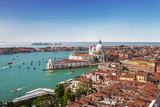 Panoramic view on Venice and the Basilica Santa Maria della Salute from the bell tower of St. Mark's Cathedral, Italy