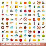 100 agricultural reclame icons set, flat style