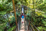 Canada travel tourist woman walking in famous attraction Capilano Suspension Bridge in North Vancouver, British Columbia, canadian vacation destination for tourism.