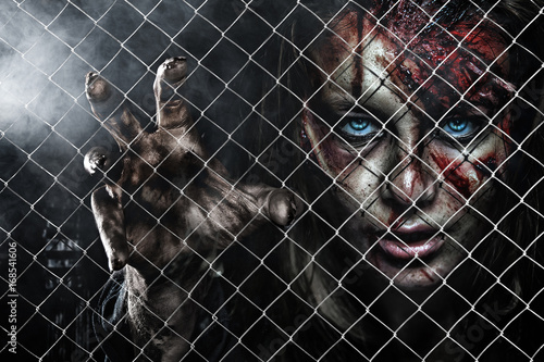 Close-up portrait of horrible zombie woman with wounds Poster