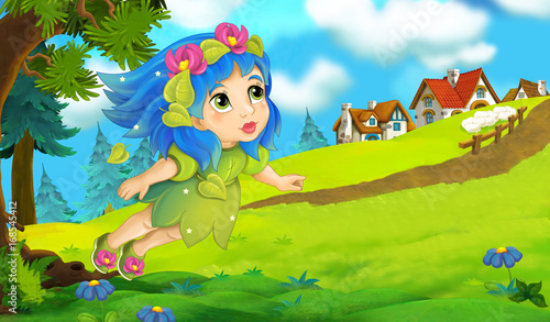 Cartoon background of fairy flying in the forest near the village - illustration for children - 168545412