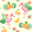 Cute seamless pattern of a flamingo bird with tropical flowers, leaves and fruit. - 168548241