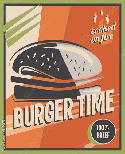 retro-poster-mit-burger-mit-rindfleisch-restaurantkonzept-und-design-vintage-stil-hintergrund-vektor