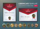 certificate template with luxury pattern,diploma,Vector illustration and vector Luxury premium badges design,Set of retro vintage badges and labels. - 168558822