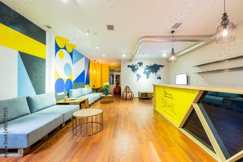 Hotel reception of hostel dormitory