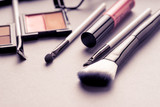 Set of Makeup cosmetics products with bag on top view, vintage style - 168564424