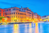 Views of the most beautiful canal of Venice - Grand Canal water streets, boats, gondolas, mansions along. Night view. Italy. - 168565058