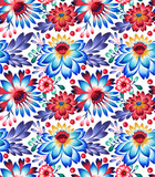 seamless pattern with folk style flowers and leaves, ethnic design. - 168568298