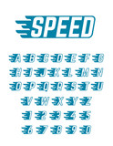 Speed flying vector alphabet. Fast symbols typeface for racing car team, retro posters and sportswear