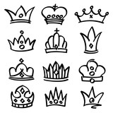 Vector hand drawn princess crowns. Sketch doodle royalty symbols