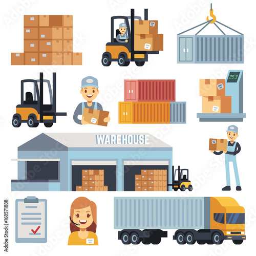 Merchandise warehouse and logistic flat vector icons with workers and equipment