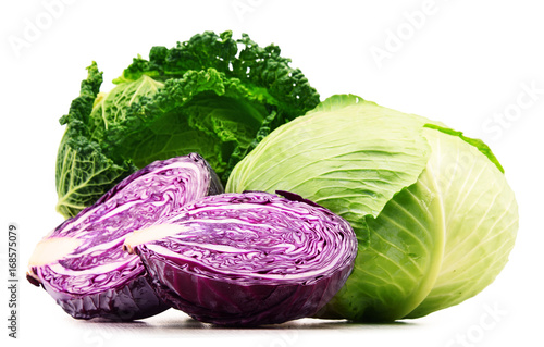Fresh organic cabbage heads isolated on white - 168575079