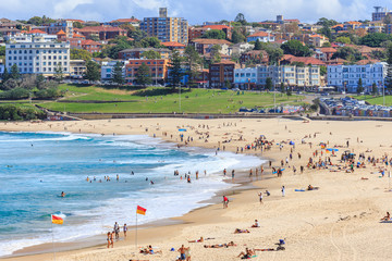 View of People relaxing on the Bondi beach in Sydney, Australia