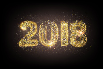 Happy new year card template over dark background with golden sparks. Happy new year 2018. Template for your design. Vector illustration.