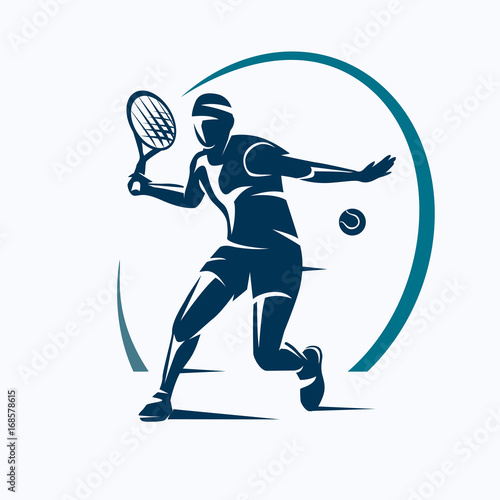 Sticker tennis player stylized vector silhouette, emblem or logo template