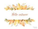 Watercolor autumn vector banner of leaves and branches isolated on white background. - 168581459