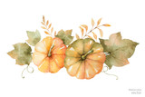 Watercolor vector autumn bouquet of leaves, branches and pumpkins isolated on white background. - 168581657