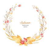 Watercolor vector wreath of leaves and branches isolated on white background. - 168581808