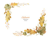 Watercolor vector wreath of leaves and branches isolated on white background. - 168581849