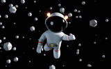 cute white cartoon astronaut flying between geometric objects in front of a black background - 168585403