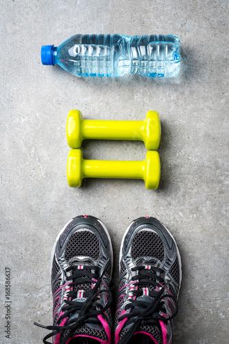 Sticker Sport accessories on gray stone background
