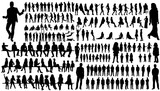 Fototapety isolated, a collection of silhouettes of people men and women